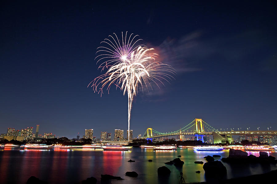 Tokyo Bay Fireworks Photograph by Photography By Zhangxun