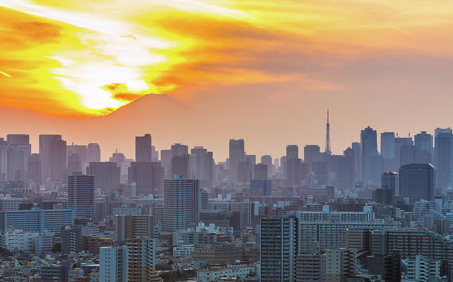 Tokyo City At Sunset Photograph by Japan