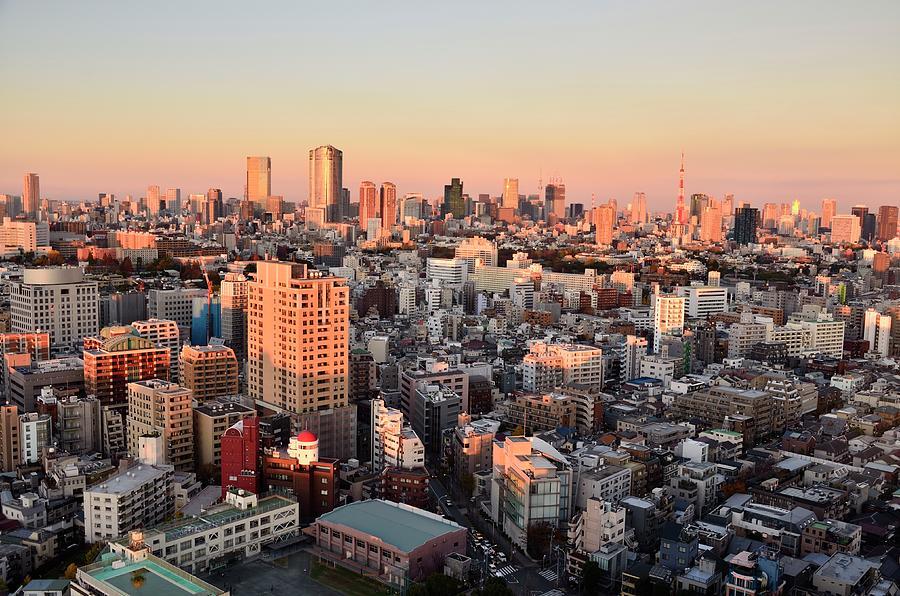 Tokyo Cityscape At Sunset Photograph by Keiko Iwabuchi