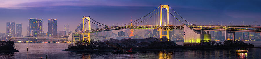 Tokyo Rainbow Bridge Soaring Over Photograph by Fotovoyager
