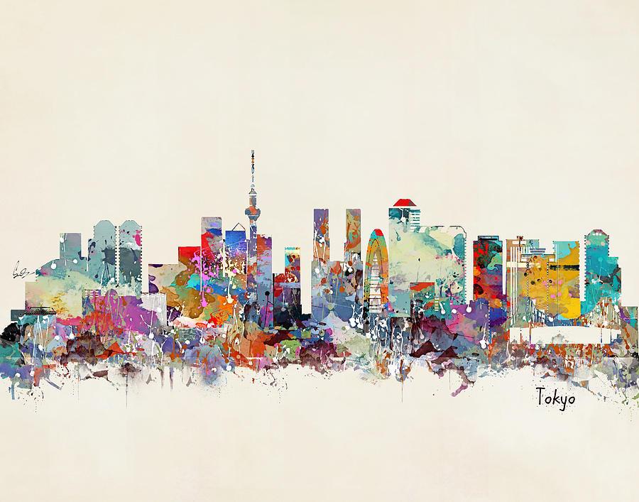 Tokyo Skyline Painting - Tokyo skyline  by Bri Buckley