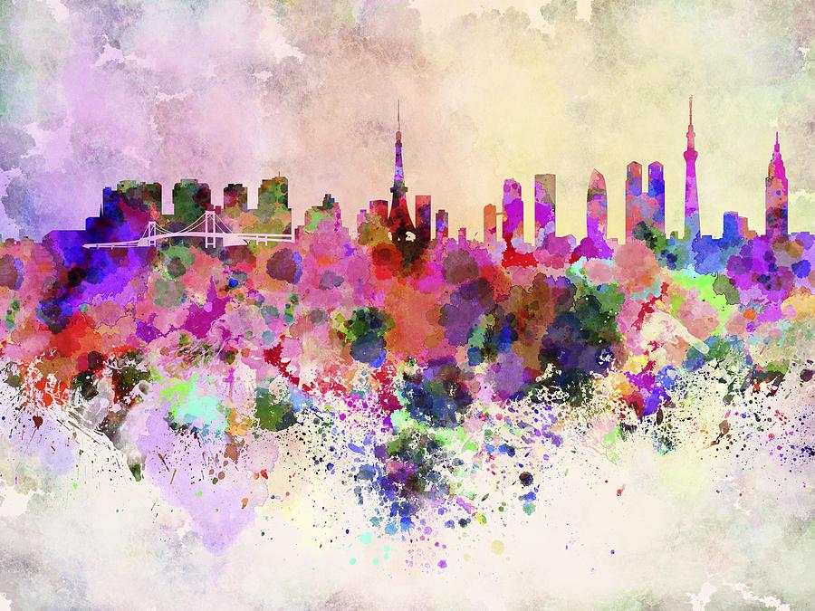 Tokyo Skyline In Watercolor Background Digital Art By