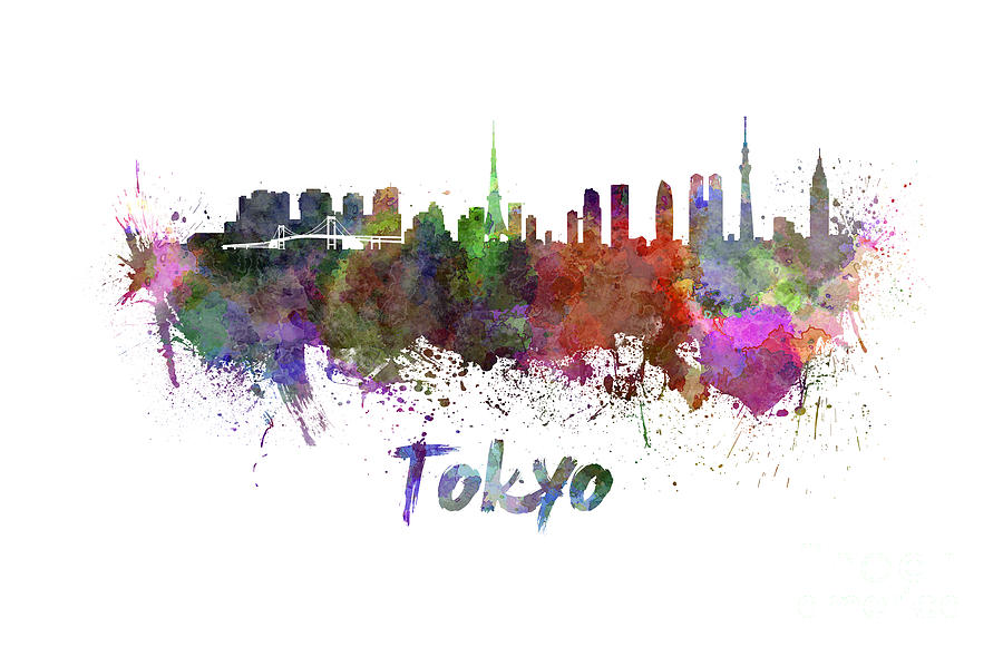 Tokyo Skyline In Watercolor Painting By Pablo Romero