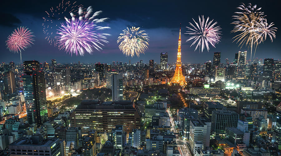 Tokyo Skyline With The Tokyo Tower For Photograph by Franckreporter