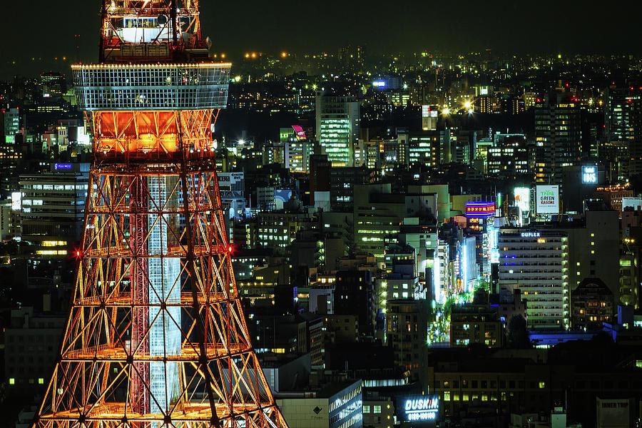 Tokyo Skyline With Tokyo Tower At Night Photograph by Sandro Bisaro