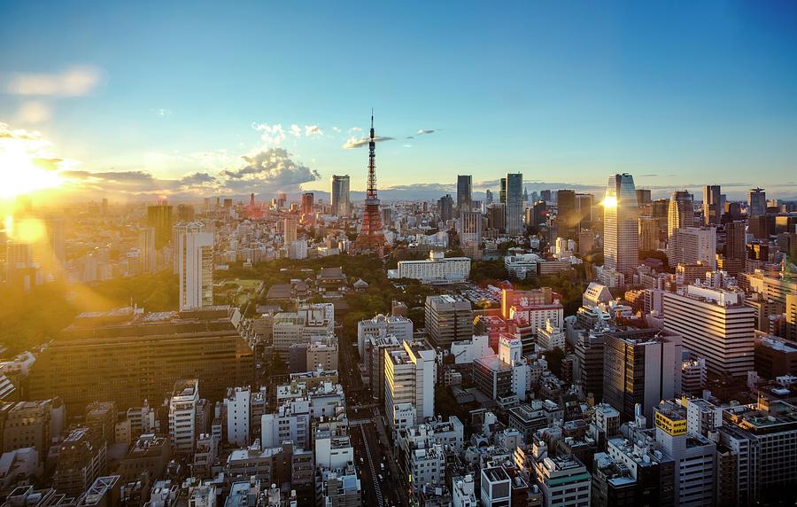 Tokyo Tower After Raining Photograph by Panithan Fakseemuang