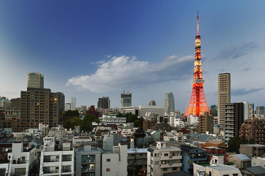 Tokyo Tower And Cityscape At Sunset Photograph by Vladimir Zakharov