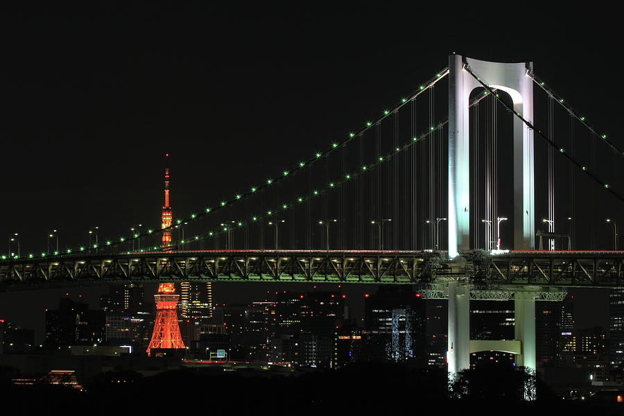 Tokyo Tower And Rainbow Bridge At Night Photograph by Michaël Ducloux