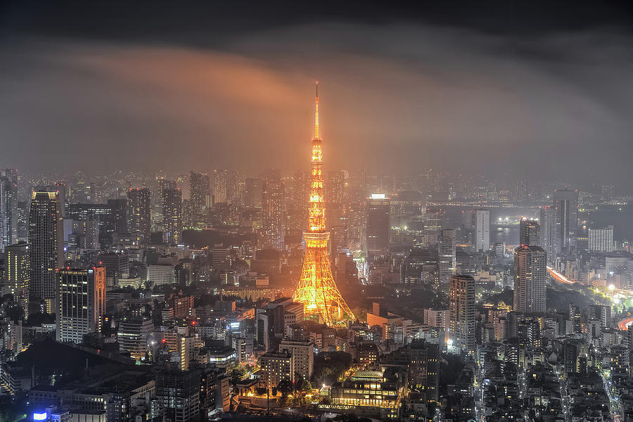 Tokyo Tower At Foggy Night Photograph by Yuga Kurita