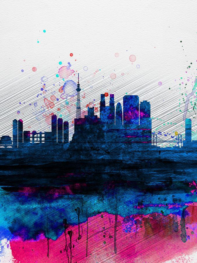Tokyo Watercolor Skyline 2 Painting By Naxart Studio