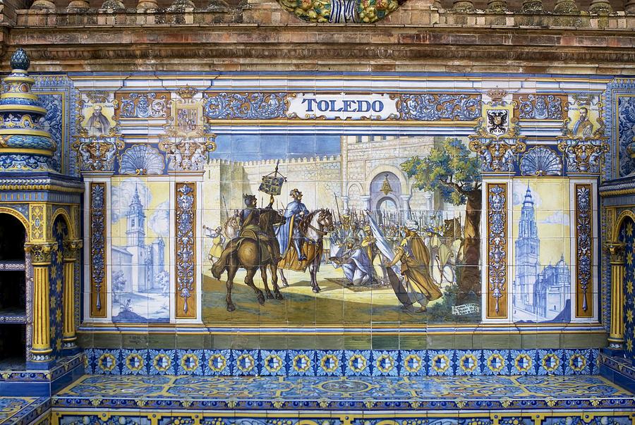 Seville Photograph - Toledo In The Province Alcove Of The Plaza De Espana by Lorraine Devon Wilke