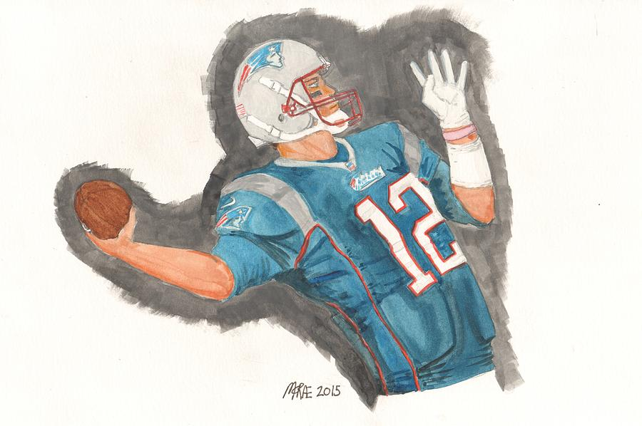 Nfl Painting - Tom Brady New England Patriots by Paul McRae