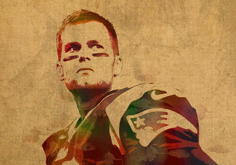 Tom Brady Mixed Media - Tom Brady New England Patriots Quarterback Watercolor Portrait On Distressed Worn Canvas by Design Turnpike