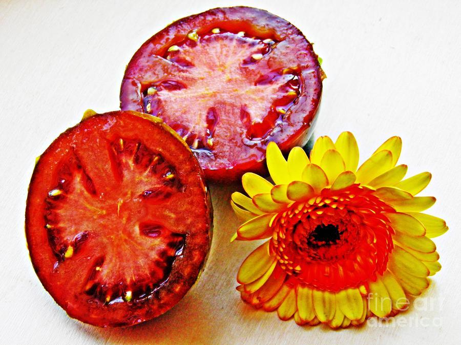 Sarah Loft Photograph - Tomato And Daisy 2 by Sarah Loft