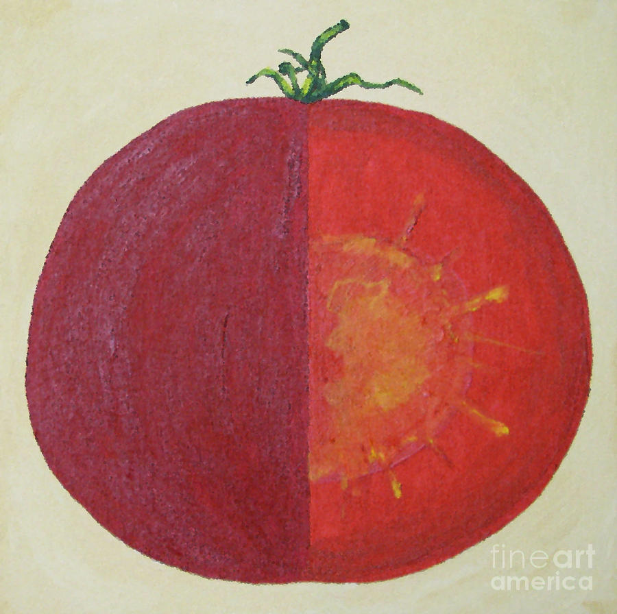 Tomato In Two Reds Acrylic On Canvas Board By Dana Carroll Painting by Dana Carroll
