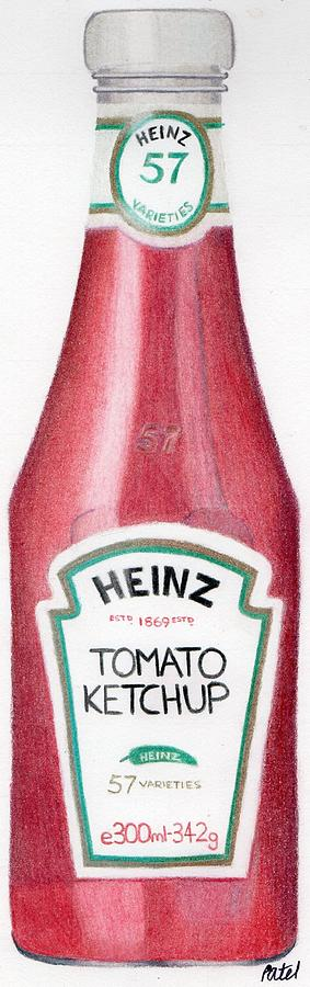 Tomato Drawing - Tomato Ketchup by Bav Patel