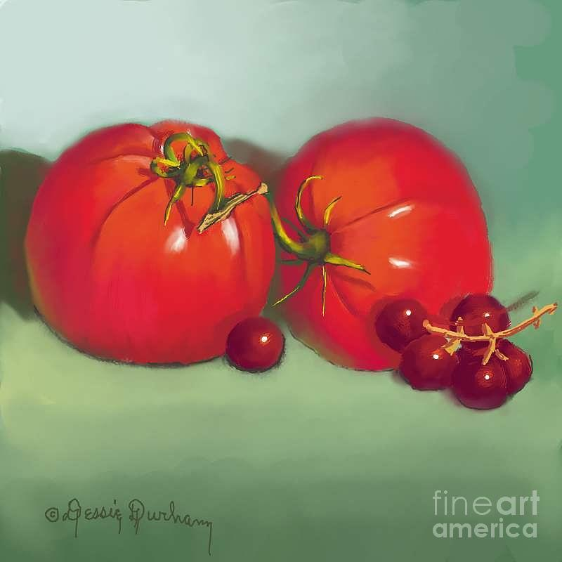 Tomatoes Digital Art - Tomatoes And Concord Grapes by Dessie Durham