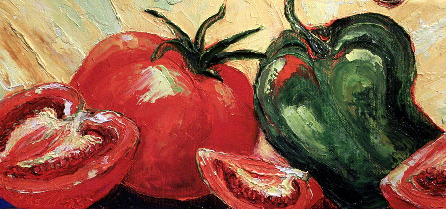 Tomato Paintings Painting - Tomatoes And Green Pepper by Paris Wyatt Llanso