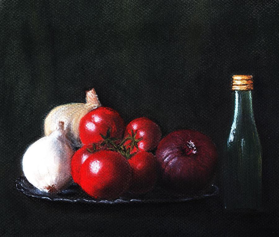Dish Painting - Tomatoes And Onions by Anastasiya Malakhova