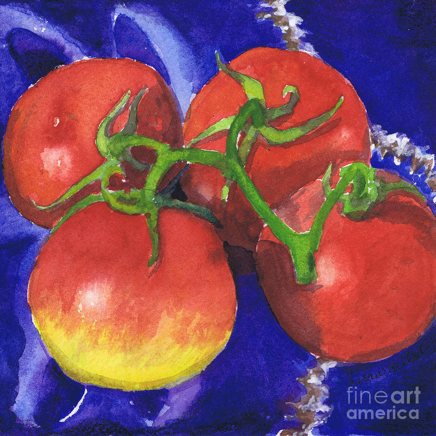 Tomato Painting - Tomatoes On Blue Tile by Susan Herbst