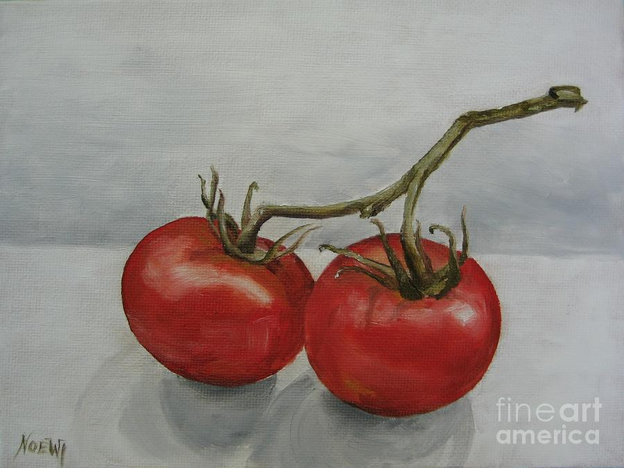 Oil Painting - Tomatoes On Vine by Jindra Noewi