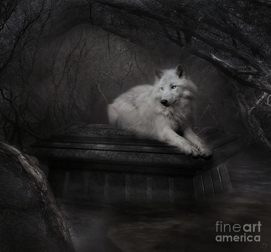 Wolf Digital Art - Tomb Of The Wolf - Grey by Lynn Jackson