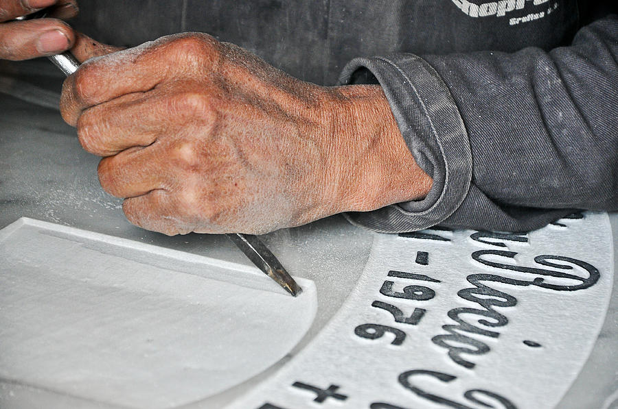 Death Photograph - Tombstone Engraver At Work by Jess Kraft