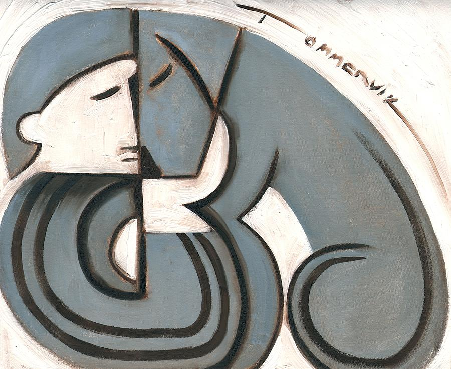 Art Deco Painting -  Art Deco Man And Dog Art Print by Tommervik