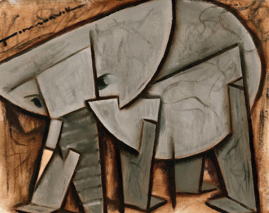 Elephant Painting -  Tommervik Abstract  Elephant Art Print by Tommervik
