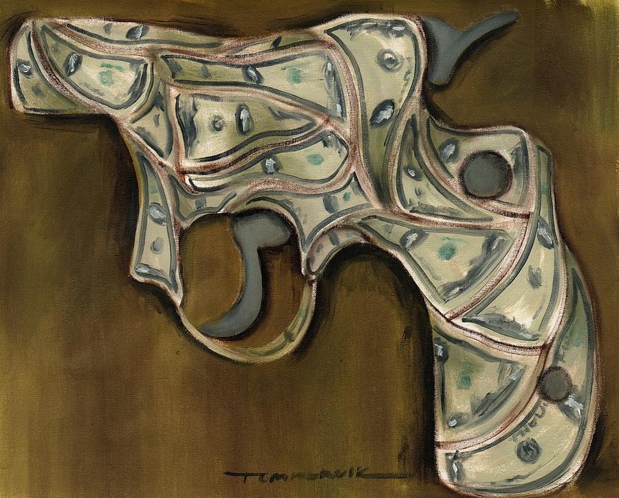 Hand Gun Painting - Tommervik Cash Gun Art Print by Tommervik