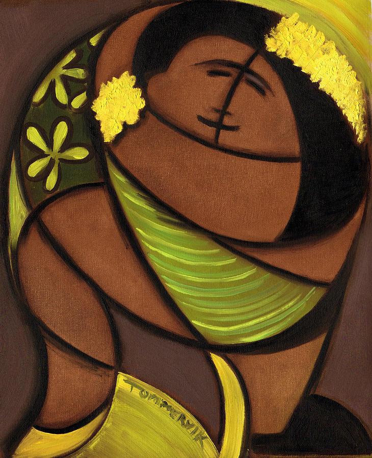 Hawaiian Painting - Hawaiian Couple Dancing Art Print by Tommervik