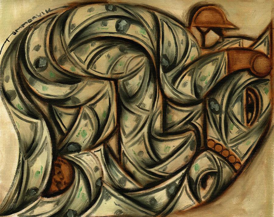Money Painting - Tommervik Horse Racing Betting Art Print by Tommervik