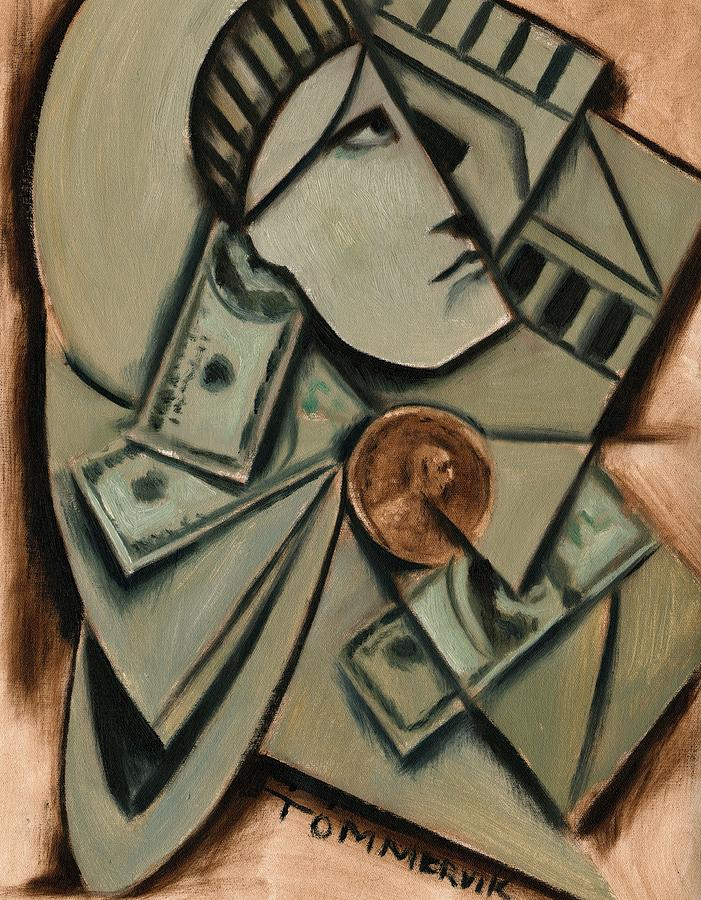 Statue Of Liberty Painting -  Tommervik Cubism New York Statue of Liberty Art Print by Tommrervik