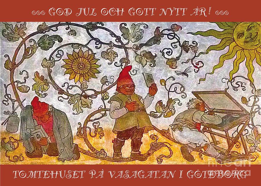 Tomtehuset GOD JUL Mixed Media by Leif Sodergren