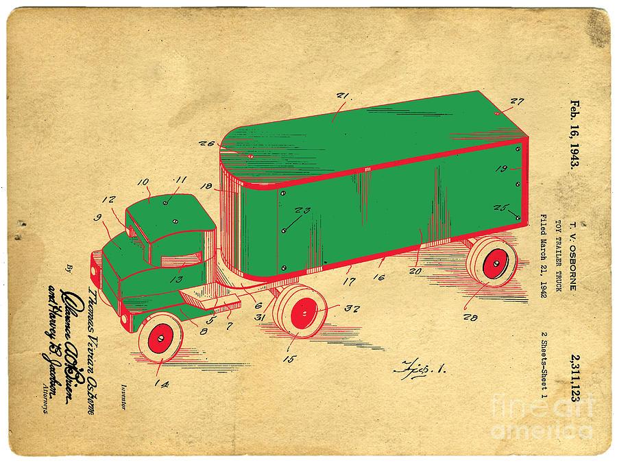 Tonka Digital Art - Tonka Truck Patent by Edward Fielding