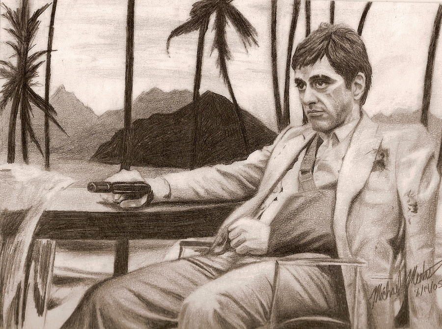 Scarface Drawing - Tony Montana by Michael Mestas