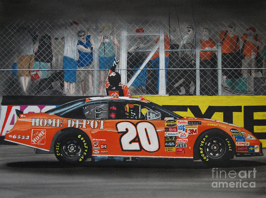 Car Drawing - Tony Stewart Climbs For The Checkered Flag by Paul Kuras