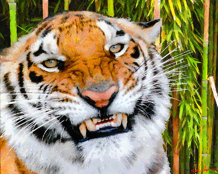 Tiger Painting - Too Close by Lester Phipps