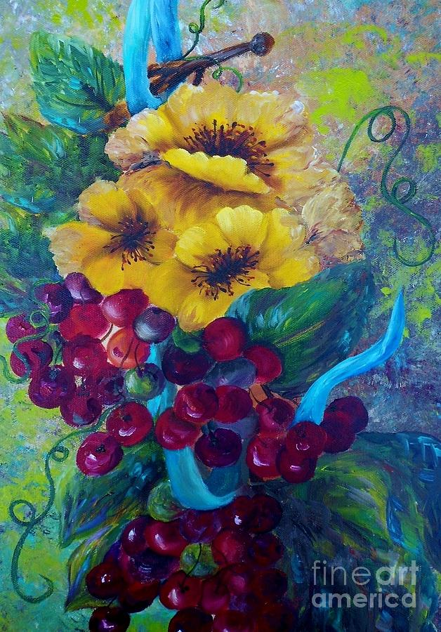 Yellow Painting - Too Delicate For Words - Yellow Flowers And Red Grapes by Eloise Schneider