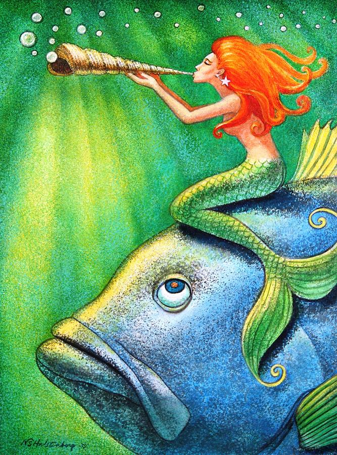 Toot Your Own Seashell Mermaid Painting by Sue Halstenberg