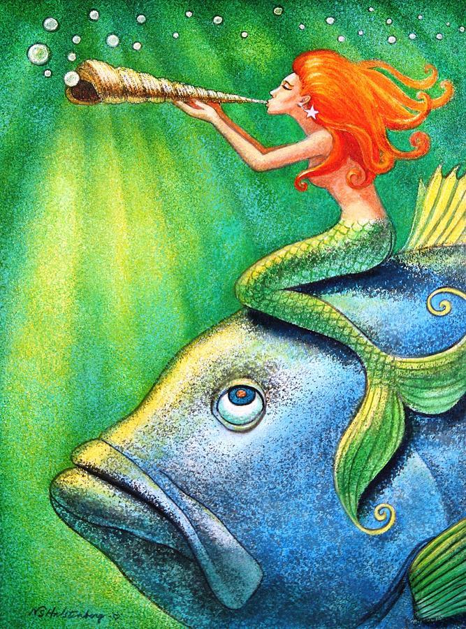Mermaid Painting - Toot Your Own Seashell Mermaid by Sue Halstenberg