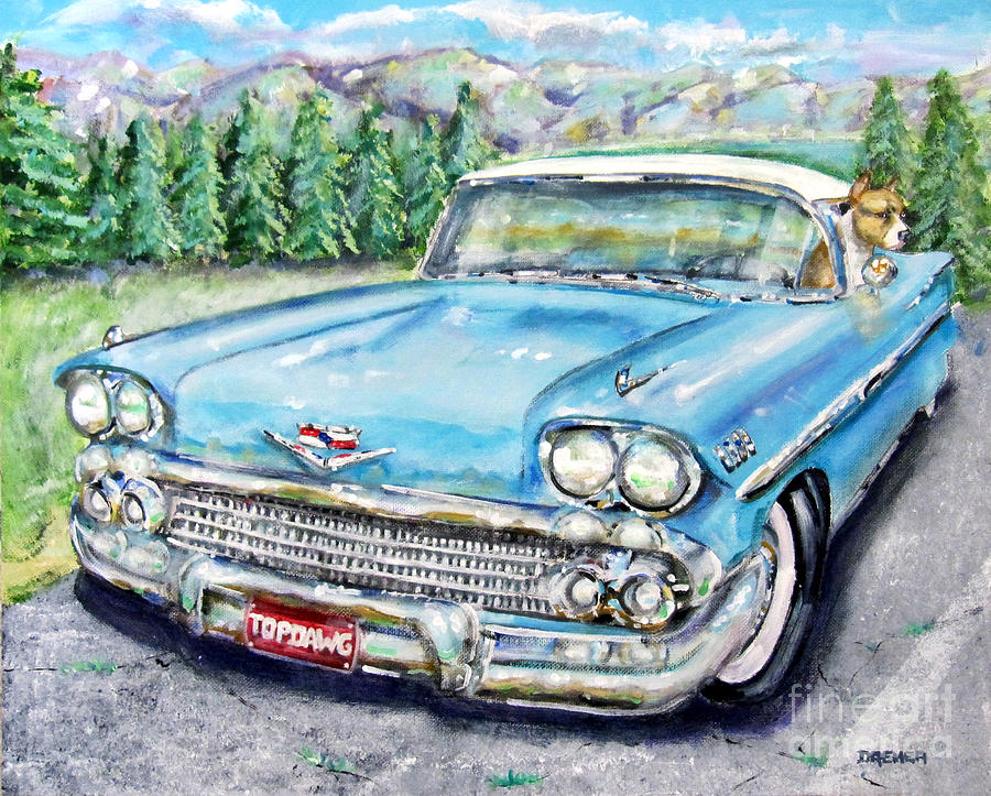 Landscape Painting - Top Dog Chevy by Chris Dreher