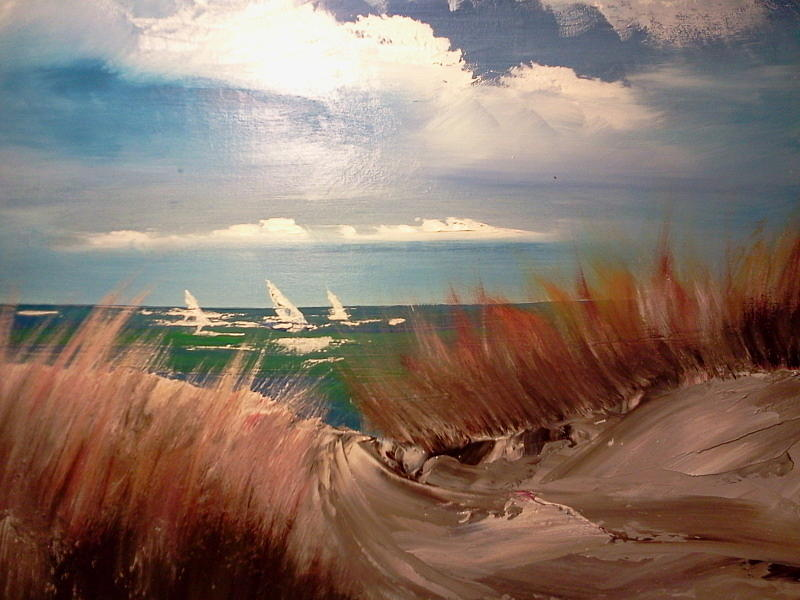 Sand Dunes Painting - Top Of The Dune by Joseph Gallant