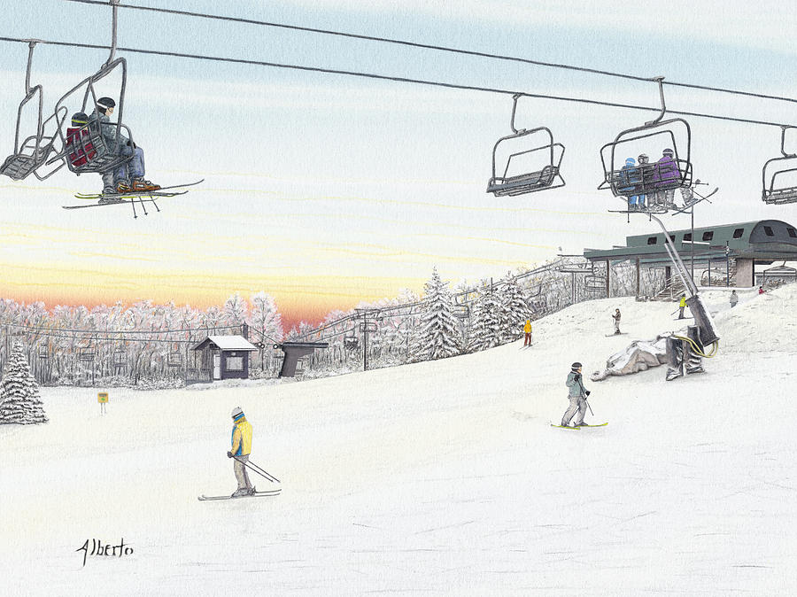 Seven Springs Mountain Resort Painting - Top Of The Mountain At Seven Springs by Albert Puskaric