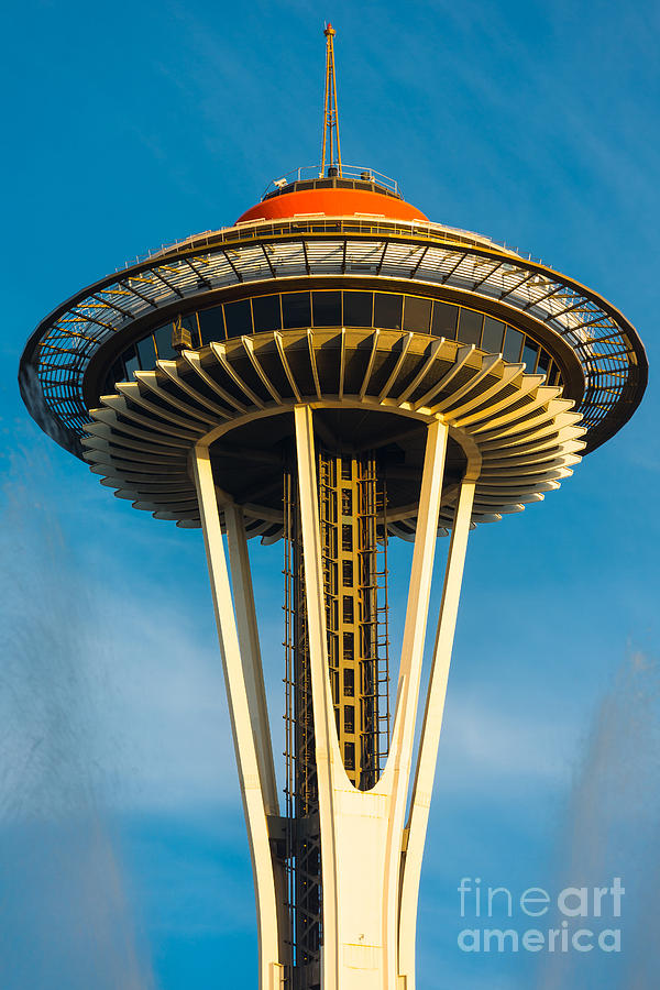 Seattle Photograph - Top Of The Space Needle by Inge Johnsson