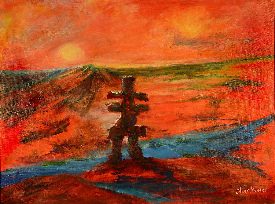 Art Work Painting - Top Of The World by Sher Nasser