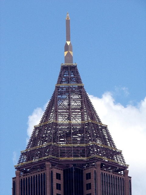 Architecture Photograph - Top Of Tower Of Bank Of America Plaza by Georgia Hamlin