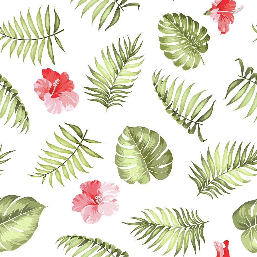 Topical Palm Leaves Pattern Digital Art by Kotkoa