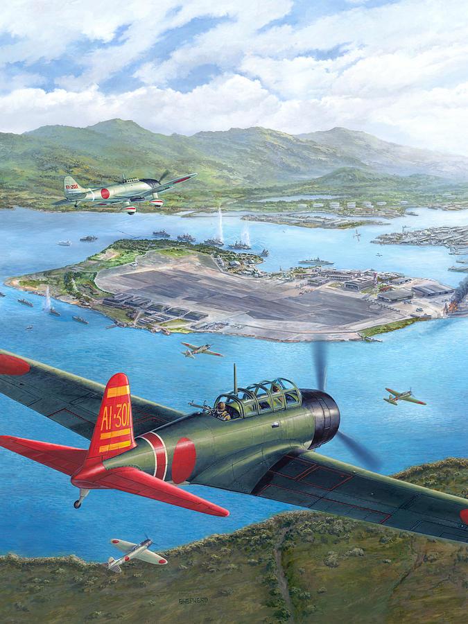 Pearl Harbor Painting - Tora Tora Tora The Attack on Pearl Harbor Begins by Stu Shepherd