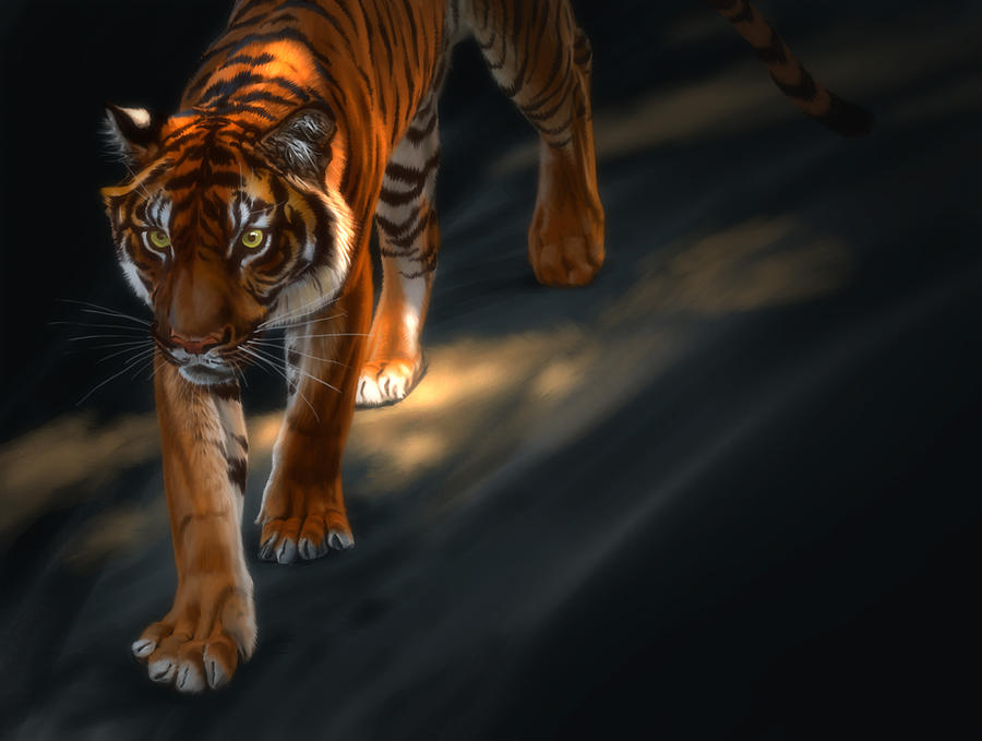 Torch Tiger 2 Digital Art by Aaron Blaise